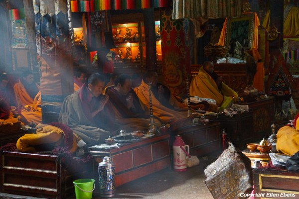 Monks chanting at the assembly hall of Shalu Monastery