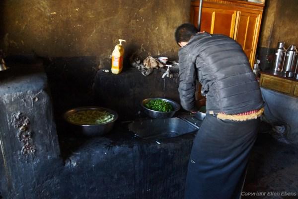 The kitchen of Puntsholling Monastery