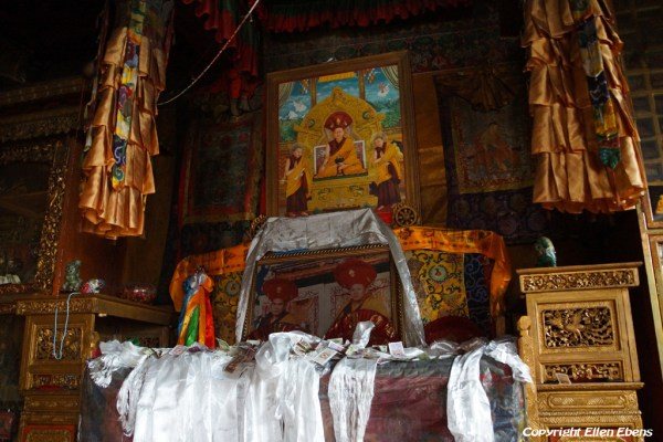 Inside the assembly hall of Drigung Til Monastery