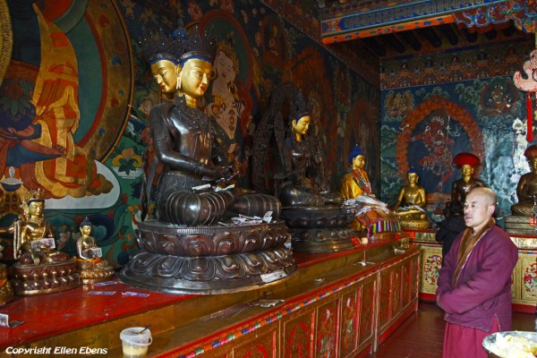 Inside a smaller assembly hall at Drigung Til Monastery, the monk explains about the statues