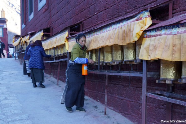Prayer wheels at Tsurpu Monastery
