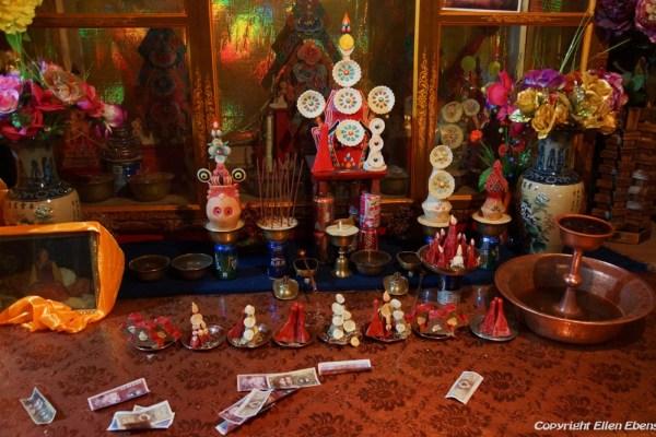 Inside a chapel at Tsurphu Monastery