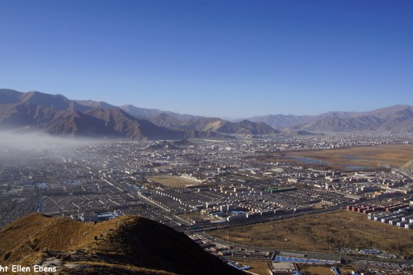 View on Lhasa from a mountain