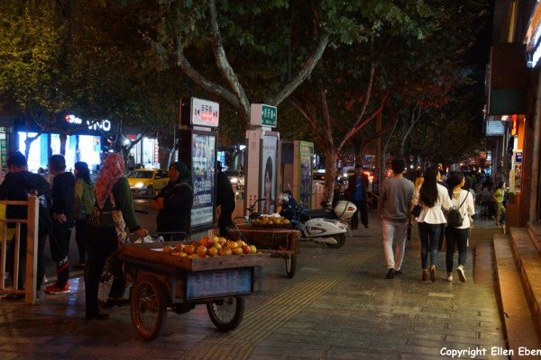 Evening street life in the evening in the city of Zhaotong