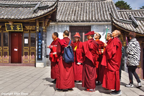 Tibetan monks on Tianzhu Peak of Jizu Shan (Jizu Mountain), at the top of the mountain, Tianzhu Peak
