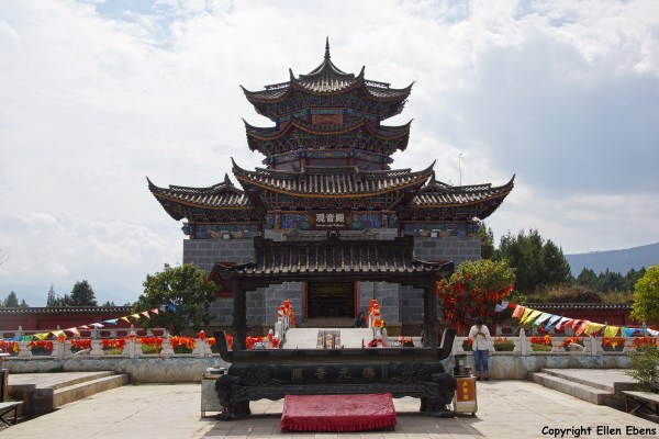 The Tibetan Golden Stupa and temple complex in a park at the outskirts of Lijiang.
