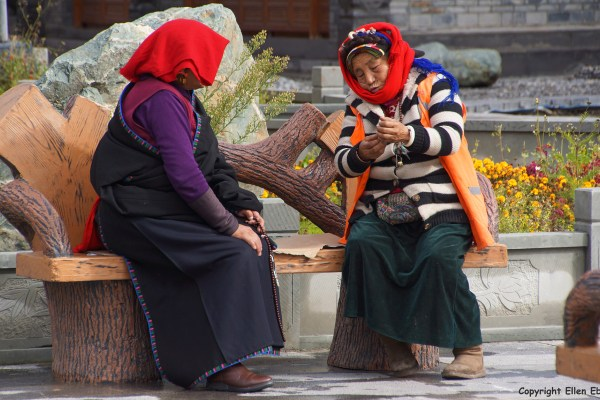 Two local women in the ancient town of Songpan