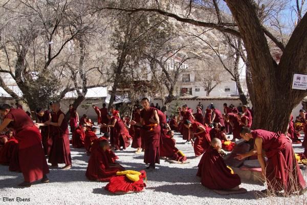 Lhasa, monks debating at the debating court yard of Sera Monastery.