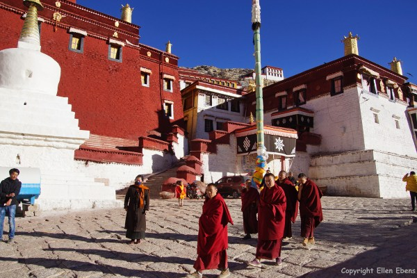 Monks at Ganden Monastery