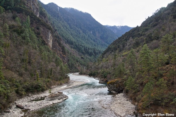Driving through a beautiful river valley in eastern Tibet to the town of Bome (Pome)