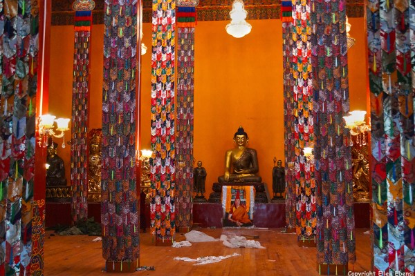 The newly constructed monastery at Bome (Pome). The gompa is being decorated.