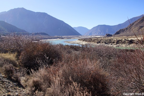 Driving through the Yarlung Tsangpo River valley. Landscape on the way from Nyingchi to Nanxiang.