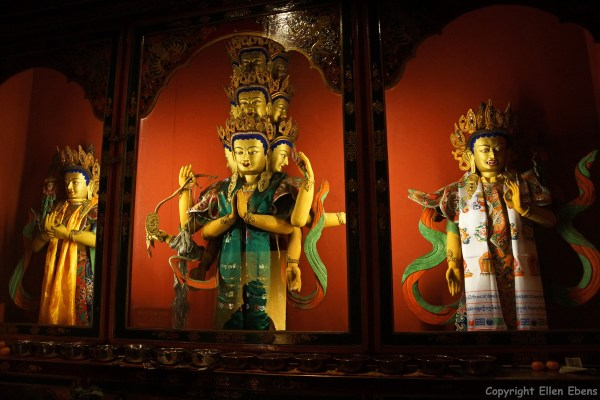 Statues at Tandruk Temple near the town of Tsedang