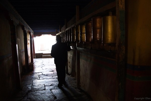 Walking the kora around Tandruk Temple near the town of Tsedang