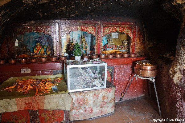 Inside one of the caves at Drak Yerpa Meditation Caves