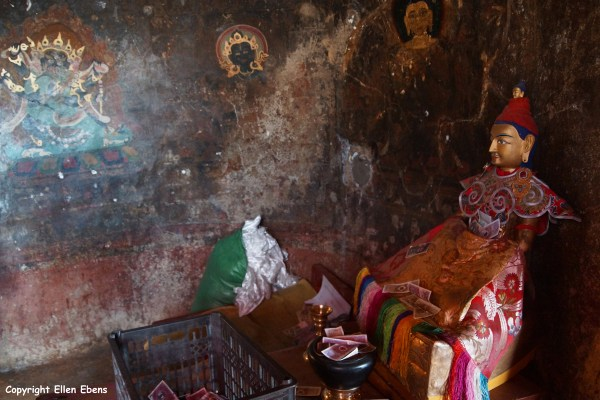 The statue of King Songtsen Gampo inside one of the caves at Drak Yerpa Meditation Caves
