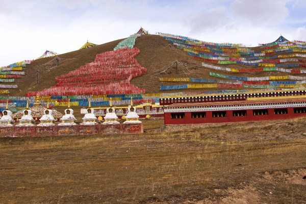 Amdo stupas prayer flags