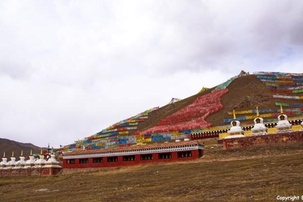 Amdo stupas prayer flags