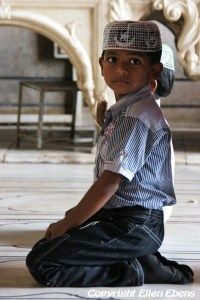 Young boy at the Jama Mashid Mosque in Delhi