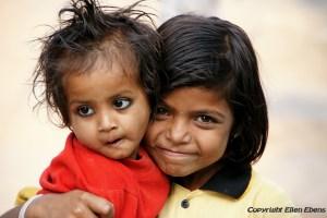 Cute kids in the town of Khajuraho