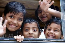 Schoolboys in the schoolbus, city of Maneshwar