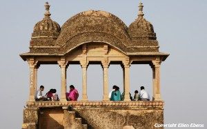 Visitors relaxing at the Gwalior Fort, Gwalior