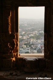 View from inside the Hindu temple on the city Gwalior