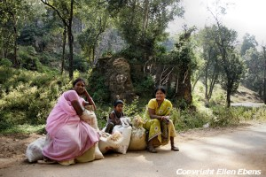 Woman with their freight waiting for a car to come by at Pachmarhi National Park
