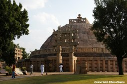 The Great Stupa at Sanchi is the oldest stone structure in India and was originally commissioned by the emperor Ashoka the Great in the 3rd century BC.