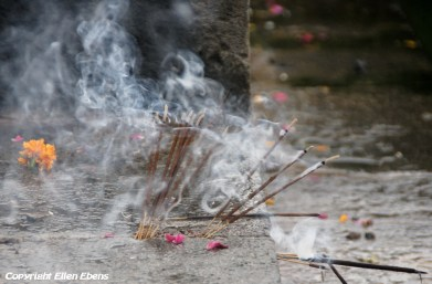 Incense sticks at the ghats of the river in the centre of the city of Ujjain