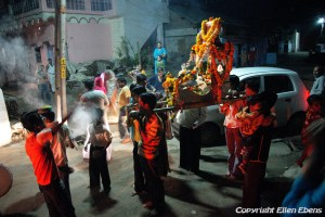 Procession in the evening in the city of Maneshwar