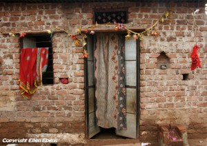 The entrance of a house in the city of Omkareswar