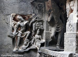 Ellora: detail of the famous Kailasa Temple