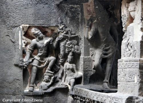 Ellora: detail of the famous Kailasa Temple