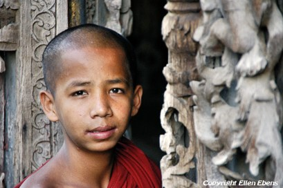 Young monk at the Shwenadaw Kyaung Monastery, Mandalay