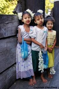 Young girls at the Shwenadaw Kyaung Monastery, Mandalay