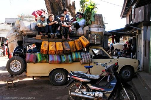 Street life at the hill station village of Pindaya