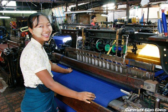 On road from Mandalay to Bagan, visit to a small weaving factory