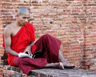 Monk at a pagoda at Bagan