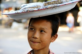 On the road from Bagan to Pyay, a boy selling nuts