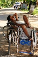 Pyay, a bicycle rider having a nap