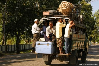 On road from Chauntha to Yangon, local transport