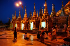 Yangon, Shwedagon Pagoda after sunset