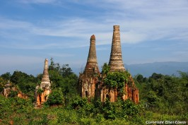 Inle Lake, crumbling groups of ancient pagodas at Indein Village