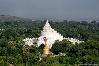 Mingun, the Hsinbyume Pagoda viewed from the top of the unfinished Mingun Pagoda