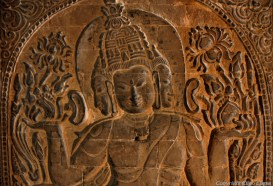 Bagan, stone carving at the Nanpaya Temple