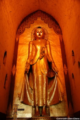 Bagan, big Buddha statue at the Ananda Temple