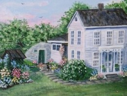 The Old Homestead 16 x 20 fine art painting by Ellen Leigh farm hous artwork