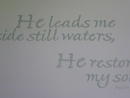 Hand lettered scripture. Mural by Ellen Leigh Psalm 23 artwork