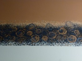 handpainted border in a small powder room. Chocolate ceiling and down the 9 foot wall a foot, soft ocean blue below. By Ellen Leigh